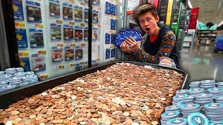 MY LITTLE BROTHER BUYS 100,000 VBUCKS ONLY USING PENNIES...