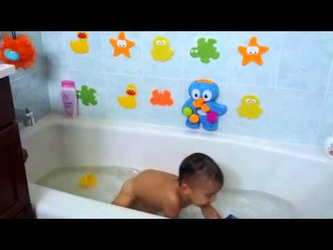 Danny enjoying his bath