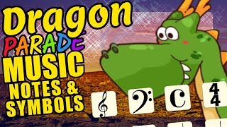 Dragon Teaching Musical Notation and Symbols Educational Music Video for Kids