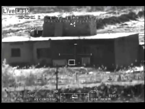 Apache destroying Iraq Insurgent Hideouts with Hellfire Missile