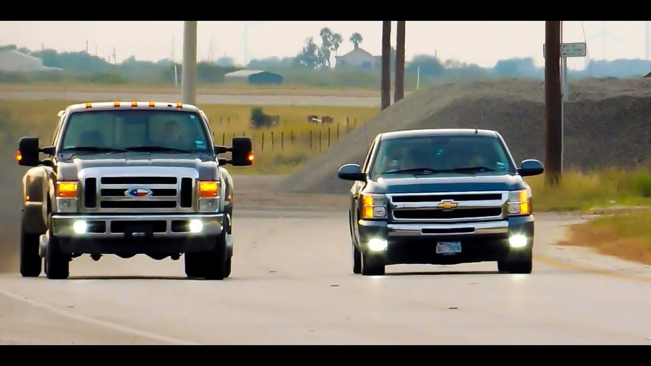Silverado Vs F150 >> 09' Ford F-350 Dually Vs Cammed 2011 Silverado (Before And After Mods) - YouTube