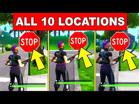 DESTROY STOP SIGNS WITH THE CATALYST OUTFIT -ALL 10 LOCATIONS ROAD TRIP CHALLENGE FORTNITE SEASON 10