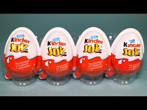 4 Kinder Joy Surprise Eggs with Crazy Friends Toys for Kids