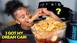 KING CRAB DESHELLED SEAFOOD BOIL MUKBANG + LOU SURPRISED ME WITH DREAM CAR
