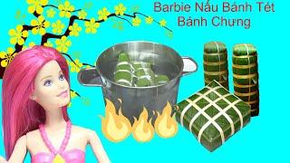 Nấu Bánh Tét Bánh Chưng Mini Bằng Bộ Đồ Chơi Nấu Ăn Mini -Tết Búp Bê Barbie - Chị Bí Đỏ