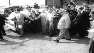 Soviet Premier Nikita Khrushchev visits the farm of Roswell Garst in Coon Rapids,...HD Stock Footage