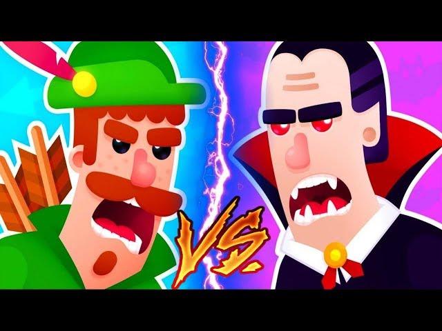 Bowmasters #75 Веселая БИТВА МУЛЬТ ГЕРОЕВ!  Игровой Мультфильм не для детей Боумастер