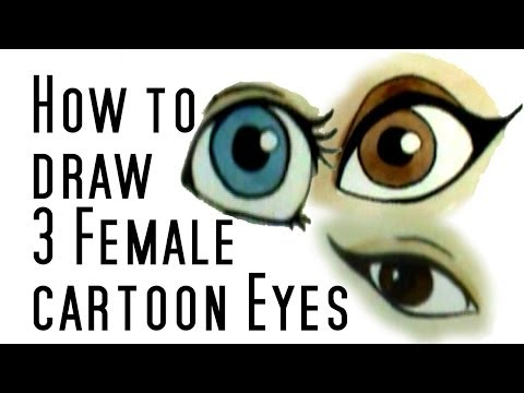 How to draw 3 cartoon female eyes