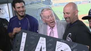 COL@LAD: Arenado, Rockies visits Vin Scully in booth