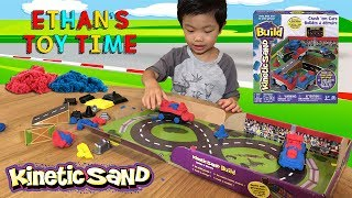 Kinetic Sand Build Crash 'em Cars Playset Race Track Fun! Unboxing and Play!