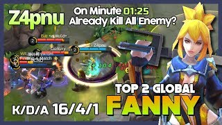 First Minutes All Enemy Die? Insane Fanny by Z4pnu Ranked 2 Global Fanny ~ Mobile Legends