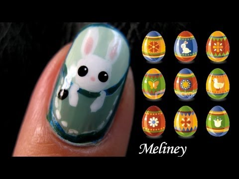 Easter Pocket Animals Nail Design - Cute Bunny Rabbit Monkey cat kitty elephant Nail tutorial