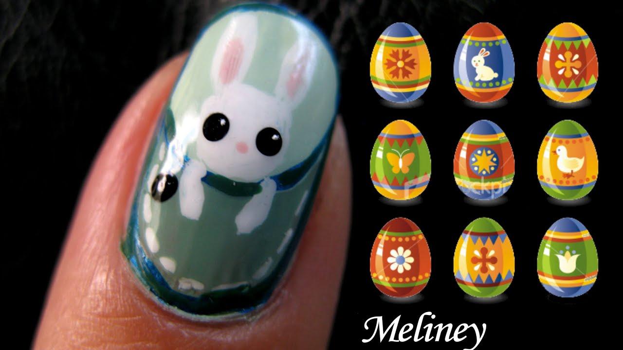 Cute Pocket Animals Nail Art Design Tutorial - Bunny Rabbit Monkey cat ...