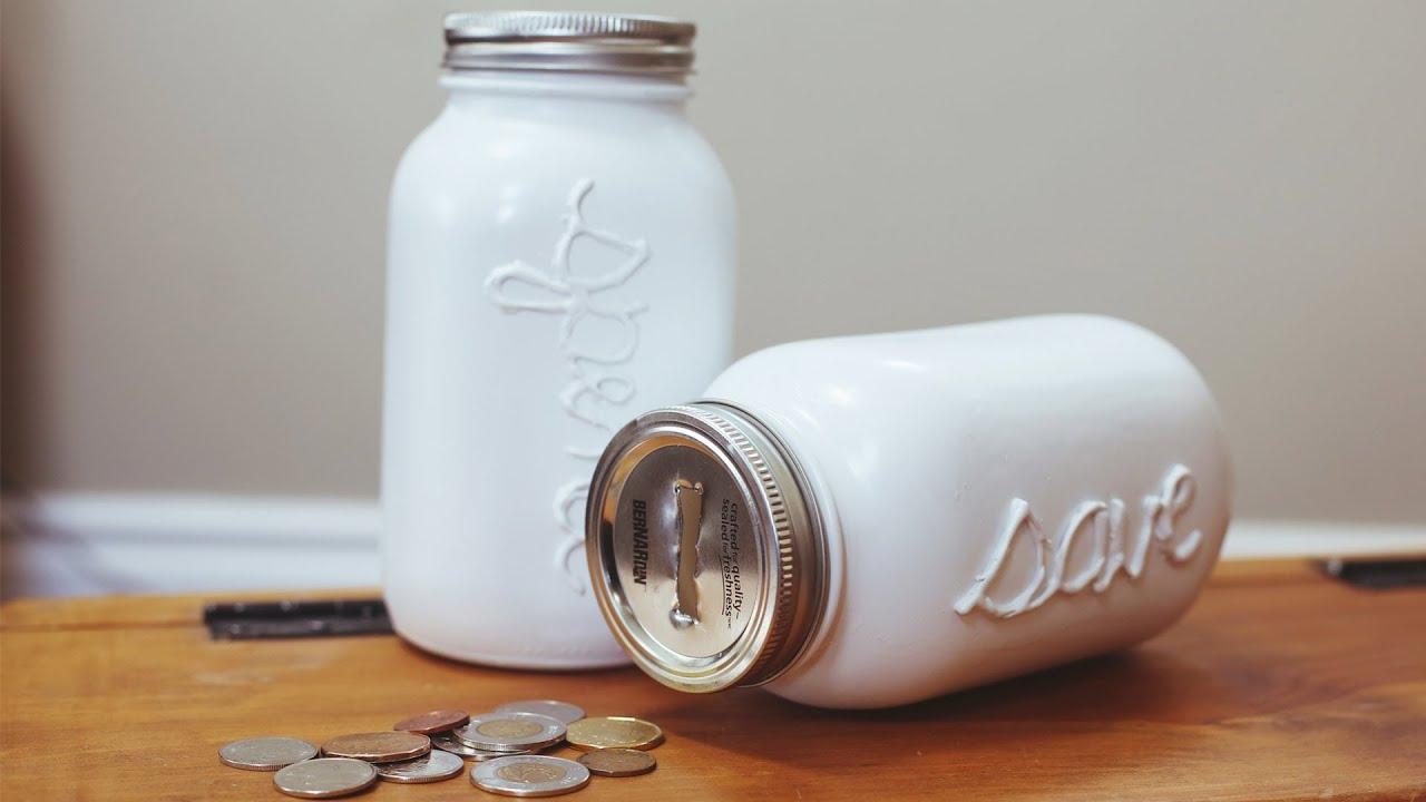 Diy mason coin jar piggy bank youtube for Piggy bank ideas diy