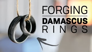 Forging Damascus Rings! - (No Lathe)