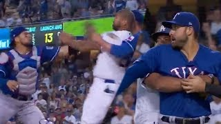 FIGHT!! Matt Kemp Charges At Robinson Chirinos With PUNCHES Thrown!