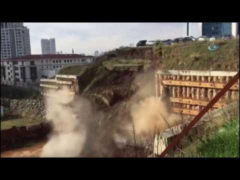 Ataşehir'de İstinat Duvarının Çökme Anı Kameralara Yansıdı