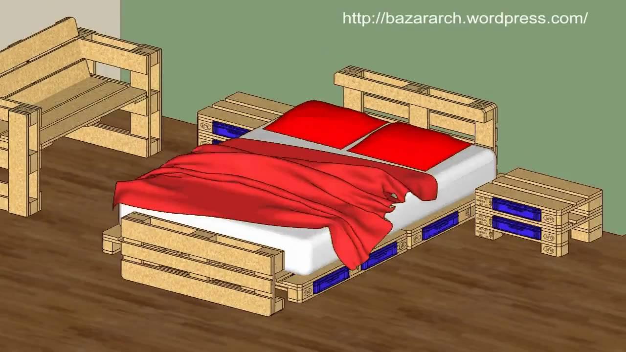 Camas iluminadas con palets de madera construccion y for Reciclar una cama de madera