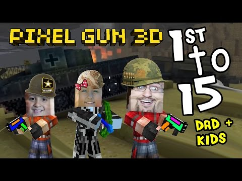 Lets Play Pixel Gun W  Dad, Daughter & Son: Lex The Destroyer! 1st To 15 On D-day Map (pt. 5) video