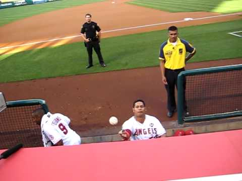 Yankees vs. Angels Game. Bobby Abreu signing my Yankees hat. July 2009. Video