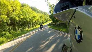 BMW RIders - BMW R1100rs following BMW K1300S on Cherohala Skyway in Robbinsville, NC GoPro Hero2