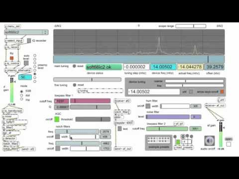 Max/MSP software defined radio Soft66LC2 scanning 20 meter CW band