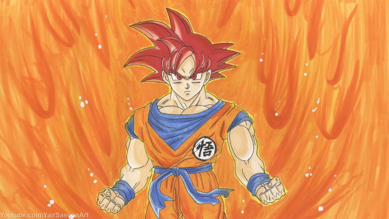 Dbz Goku Ssj God Drawings Drawing Goku Super Saiyan God