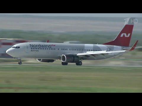 """В Саратове новый аэропорт """"Гагарин"""" принял первый регулярный рейс."""