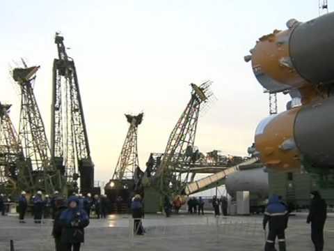 Russian Soyuz rocket rolls to the launch pad