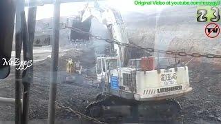 Liebherr R984 Excavator Digging Loading Coal at Open Pit Mining
