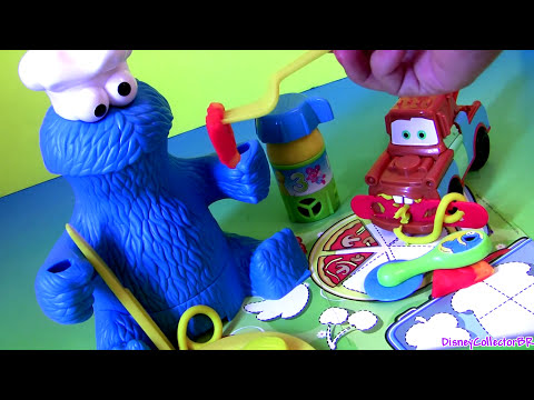 Play Doh Chef Cookie Monster Eats Pizza Lunch Box 123 Mold 'n Go Speedway Playdough Mater Cars Pixar video