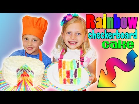 Kid Size Cooking: Rainbow Checkerboard Cake