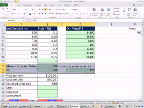 Excel 2010 Statistics 48: Accounting & Finance Examples of Expected Value &Standard Deviation