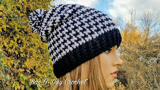 HOW TO CROCHET - SLOUCHY HAT | UNISEX HOUNDSTOOTH BEANIE | BAGODAY CROCHET Tutorial #438