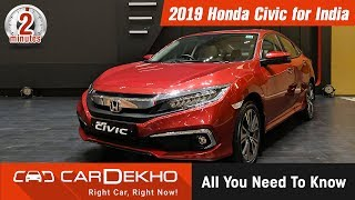Honda Civic 2019 | India Launch Date, Expected Price, Features & More | #in2mins | CarDekho.com