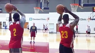 LeBron James VS Kyrie Irving 3 Point Contest During Practice 1 VS 1