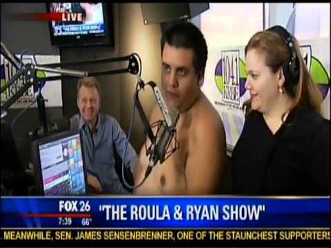 Behind the scenes of Houston radio station 104.1 KRBE's Roula & Ryan show with a shirtless Mumbles