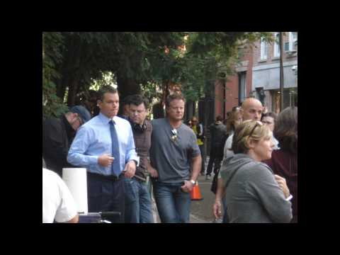 Matt Damon on the set of The Adjustment Bureau