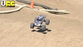 Stock brushed Traxxas E-Maxx on the track, 4S LiPo, no music