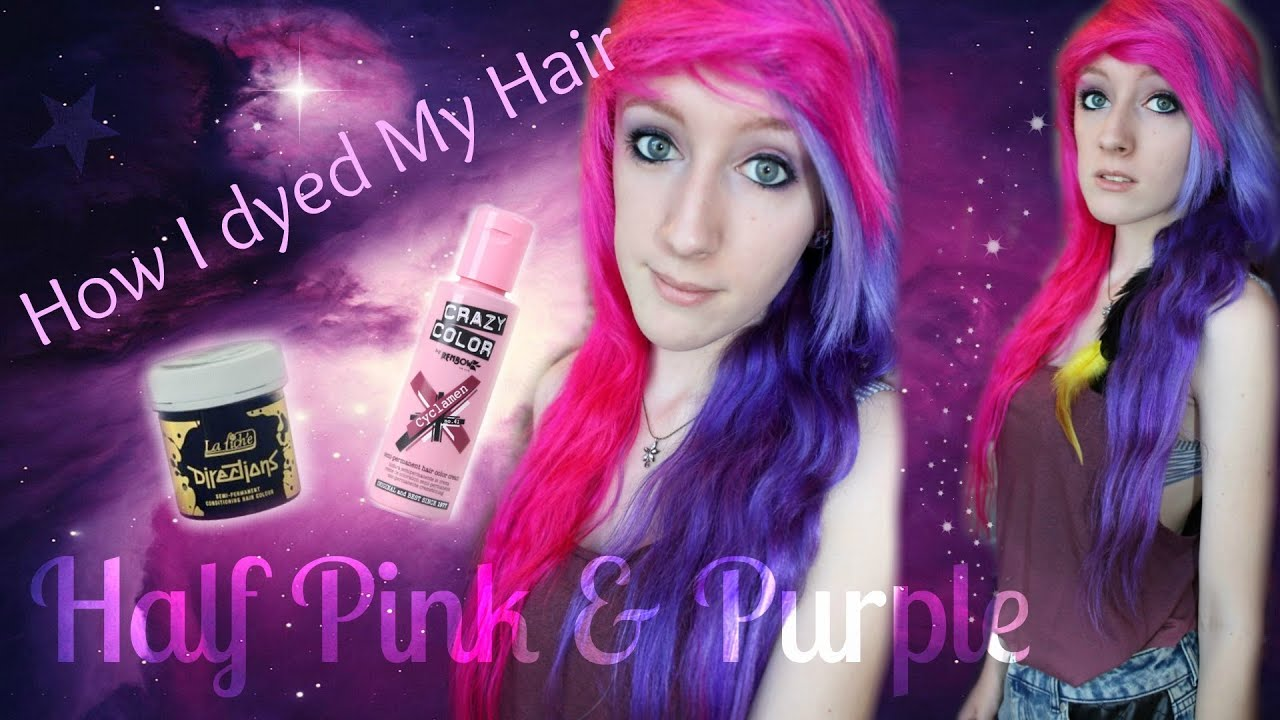 Dying My Hair Half Pink & Purple - YouTube