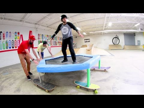 The DEATH TRAMPOLINE On 5 Skateboards! / Warehouse Wednesday