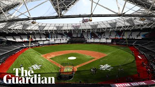 Yankees v Red Sox: London Stadium turf transformed for baseball game