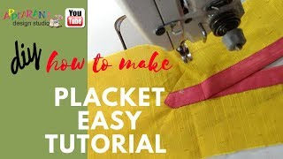 how to make placket easy tutorial diy😋