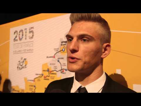 Marcel Kittel reacts to the 2015 Tour de France route presentation