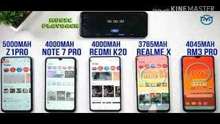 Redmi K20 🆚 vivo z1 pro -note 7 pro-realme 3 pro-realme -x battery drain test