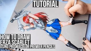 How to Draw Erza Scarlet From Fairy Tail using coloured Pencils