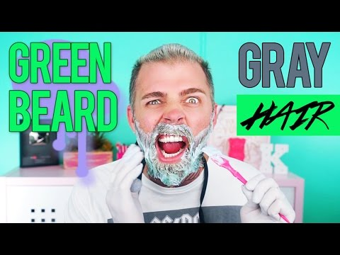 Dying My Hair Silver Gray + Green Beard with Arctic Fox Color  | TheRyanMorgan