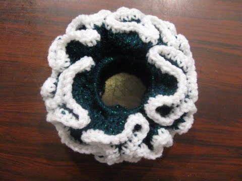 Crochet Hair Scrunchie Video : Double Crochet Scrunchie - Crochet Tutorial - YouTube