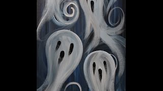 Ghost Party Step by Step Acrylic Painting on Canvas for Beginners