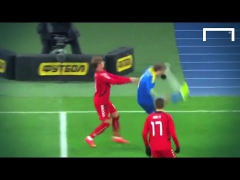 Gusev kicks ball into his own face